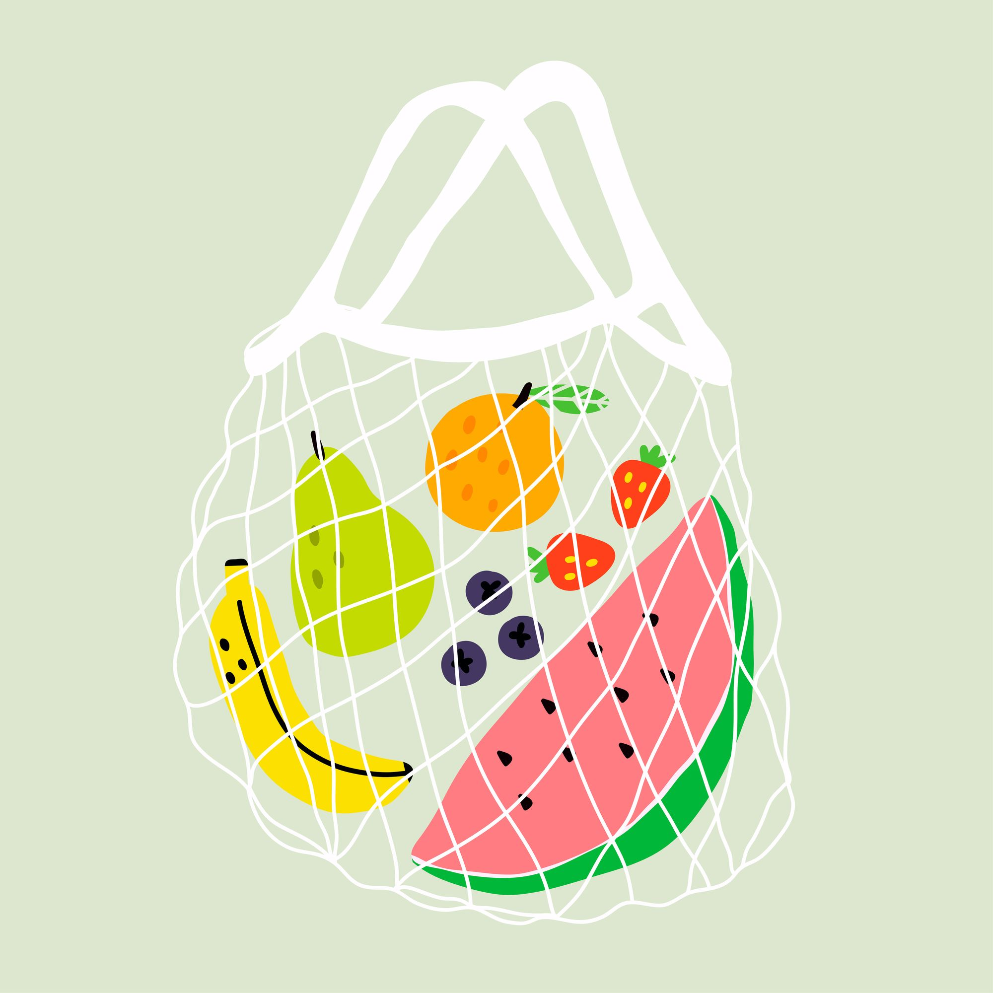 Eco-friendly net bag full of fruit