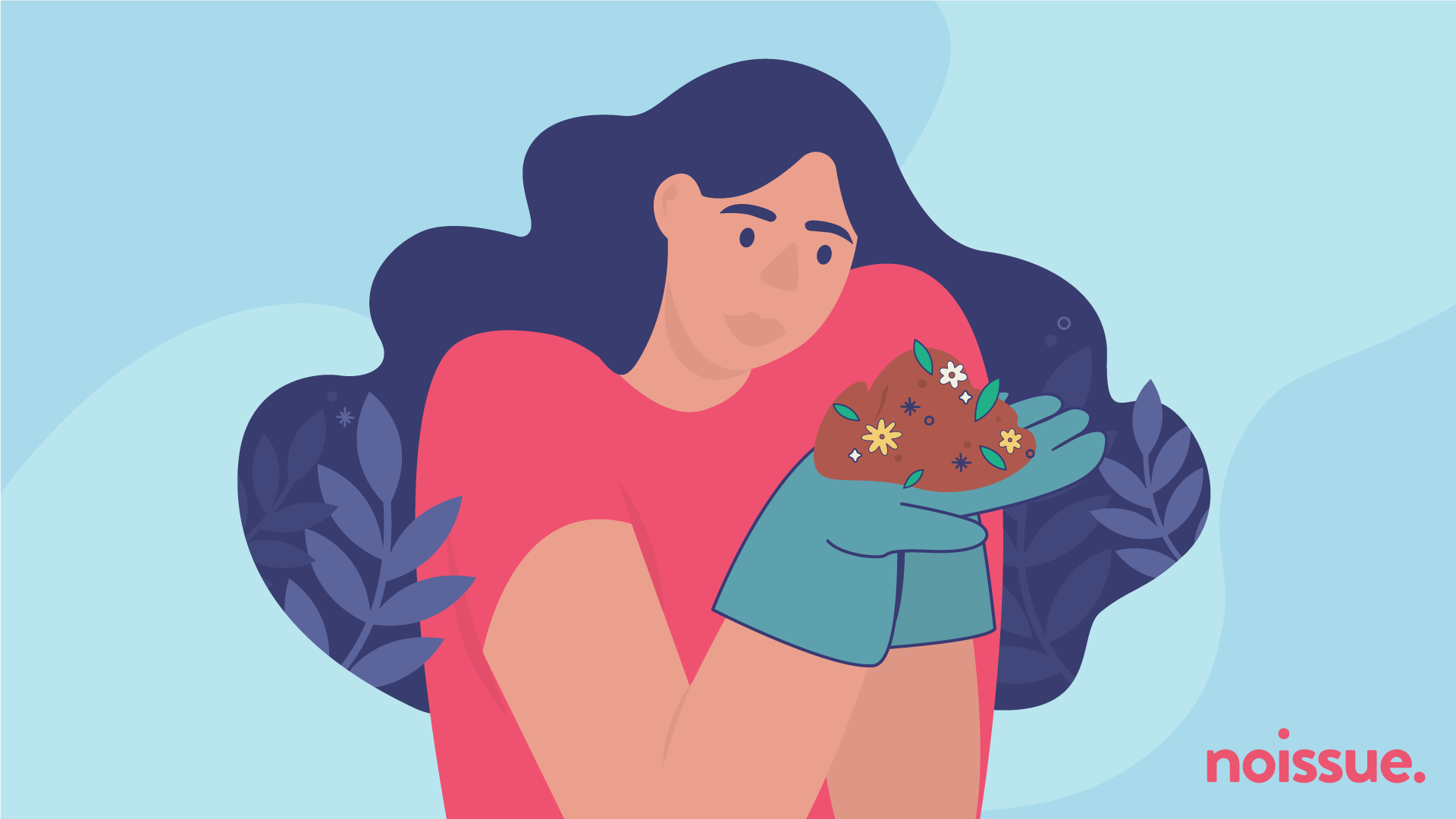 Woman holding compost in her hands