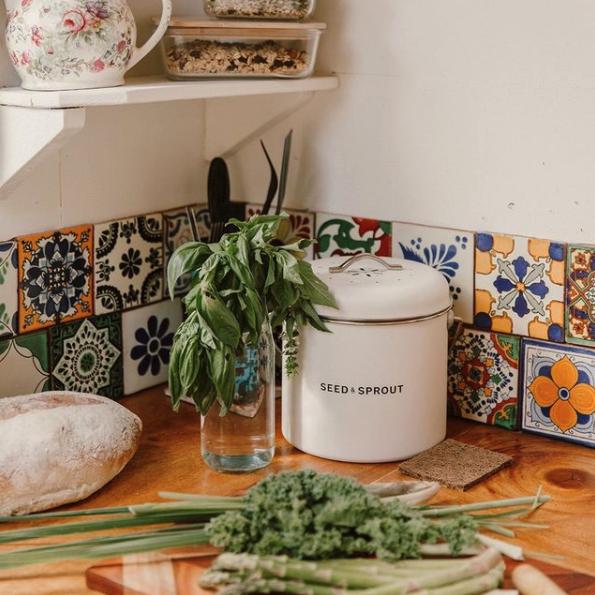 Indoor composting bin on kitchen bench